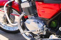 Chrome engine block at the old classic motorcycle stock image
