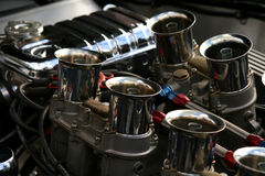 Chrome engine on classic american car. Chrome engine on classic american muscle car stock photo