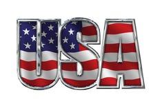 Chrome EUA com a bandeira no branco Fotografia de Stock
