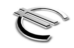 Chrome euro alias sign. Chrome euro alias on a white Royalty Free Stock Photo