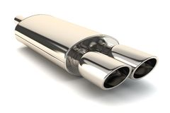 Chrome exhaust pipe. On white background vector illustration