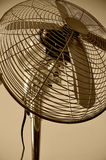 Chrome fan. Detail of a chrome fan in sepia tone Royalty Free Stock Photos