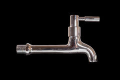 Chrome faucet. Isolated on black Stock Photo