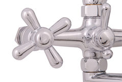 Chrome faucet and shower head (Clipping path) Stock Photos
