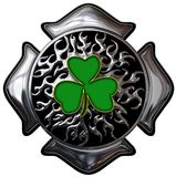 Chrome fire shamrock firefighter shield. This is a chrome fire shamrock firefighter shield design with clipping path for easy editing Stock Image