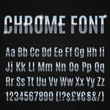 Chrome font. Chrome alphabet letters numbers and signs currancy Stock Photo