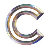 Chrome font with colorful reflections Letter C 3D. Render illustration isolated on white background royalty free illustration