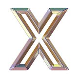 Chrome font with colorful reflections Letter X 3D. Render illustration isolated on white background stock illustration