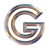 Chrome font with colorful reflections Letter G 3D. Render illustration isolated on white background royalty free illustration