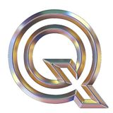 Chrome font with colorful reflections Letter Q 3D. Render illustration isolated on white background stock illustration