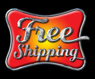 Chrome Free Shipping Lettering on black Stock Photography