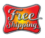 Chrome Free Shipping Lettering on white stock photos