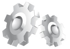 Chrome gears. Silver vector design Stock Photography