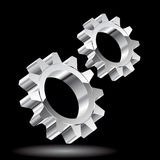 Chrome gears. Illustration of gears on black background. Vector Stock Photo