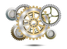 Chrome gears. On a white background Royalty Free Stock Photos