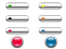 Chrome and glass web buttons. Digital illustration Stock Images