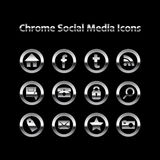 Chrome Glowing Social Media Icons royalty free illustration
