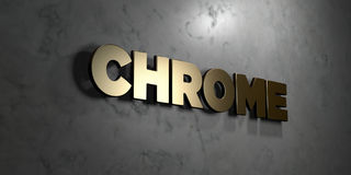 Chrome - Gold sign mounted on glossy marble wall  - 3D rendered royalty free stock illustration Stock Images