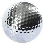 Chrome golf ball isolated. On white background Stock Image