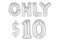 Only ten dollars, chrome grey color. Chrome grey alphabet balloons, only ten dollars, chrome grey number and letter balloon Royalty Free Stock Images