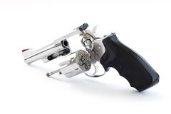 Chrome gun and bullets Stock Photography