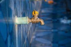 Chrome-Hahn mit blauem PVC-Rohr Lizenzfreies Stockfoto