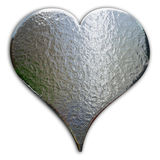 Chrome Heart. Heart shaped piece of chrome - rough surface - includes clipping path Royalty Free Stock Image