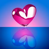 Chrome heart on Blue Background Royalty Free Stock Images