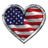 Chrome Heart with Flag on white Royalty Free Stock Image