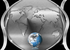 Chrome Heart Globe Business Background Stock Photography