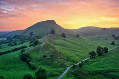 Chrome Hill seen from Parkhouse Hill in Peak District UK during royalty free stock photo