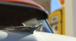 A Chrome Hood Ornament on a Vintage Car Stock Photography