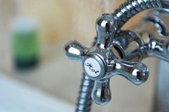 chrome hot water tap Stock Photography