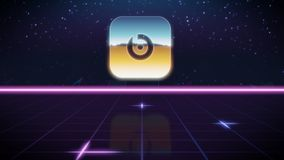 Synthwave retro design icon of beats pill. Chrome icon of beats pill on synth background vector illustration