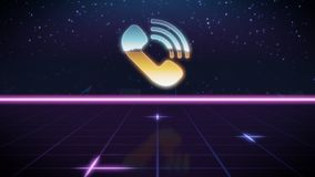 synthwave retro design icon of phone royalty free illustration