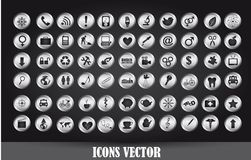 Chrome icons. Over black background. vector illustration Royalty Free Stock Photo