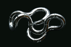 Chrome Knot. Chromed Steel Twist On Black Background Royalty Free Stock Photography