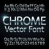 Chrome, l'acier ou les lettres et les nombres d'argent dirigent l'alphabet Oeil d'un caractère métallique, police illustration libre de droits