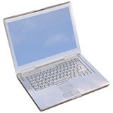 Chrome Laptop. 3D illustration of a chrome/silver laptop computer, isolated on white Stock Photo
