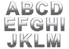 Chrome Letters. Chrome capital letters on a white background A-M Stock Photos