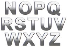Chrome Letters. Chrome capital letters on a white background N-Z Royalty Free Stock Photography