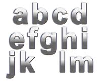 Chrome Letters. Chrome lower case letters on a white background a-m Stock Images