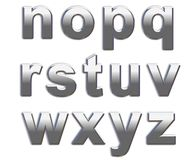 Chrome Letters. Chrome lower case letters on a white background n-z Royalty Free Stock Image