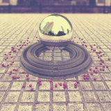 Chrome levitating sphere. With reflections located in the center of the town square below her belt circles and small cubes. Abstract background wallpaper. 3d Royalty Free Stock Photo
