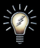 Chrome Light Bulb with Lightning Bolt on black stock images