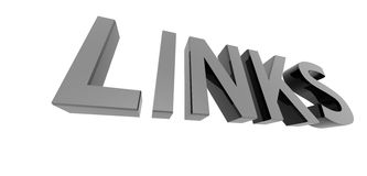 Chrome links. 3D render of reflective metallic text on a white background, links Stock Image