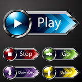 Chrome Media Menu Buttons Royalty Free Stock Image