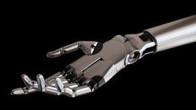 Chrome mekanisk Robotic hand på svart illustration för bakgrund 3d Arkivbild