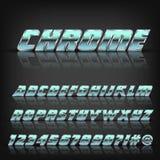 Chrome-metaalalfabet en symbolen met bezinning en schaduw Doopvont voor ontwerp Stock Foto