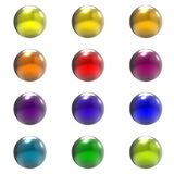 Chrome metal different color balls group Stock Photos